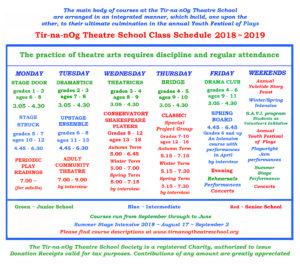 Tir-na-nOg class schedule 2018-19