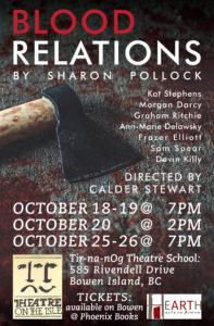 Blood Relations Oct 18,19 @ 7pm 20 @ 2pm, 25,26 @ 7pm