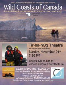 Wild Coasts of Canada Nov 24th @ 7.30 @ Tir-na-nOg Theatre